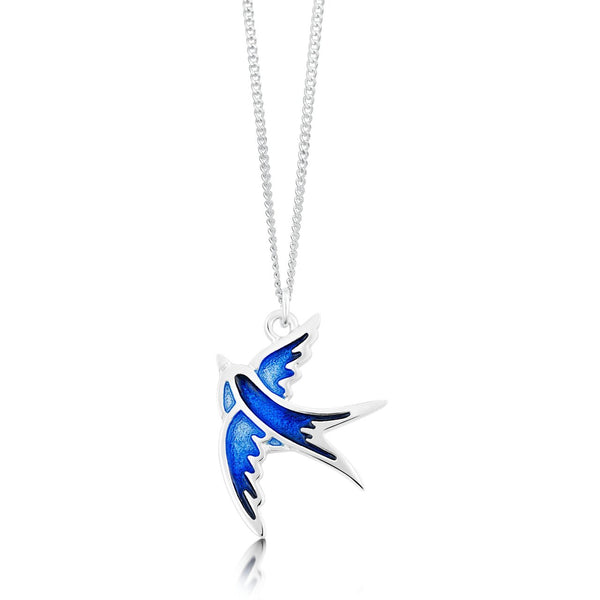 Swallows Pendant Necklace In Saphire Enamel