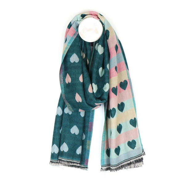 Reversible Green Hearts Jacquard Scarf