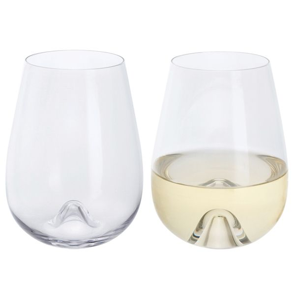 Stemless White Wine Crystal Glasses