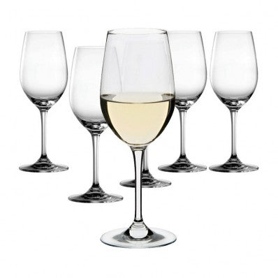 Box Of 6 Crystal White Wine Glasses