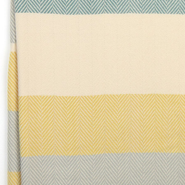Soft Pastel Yellow, Teal & Grey Wide Stripe Scarf