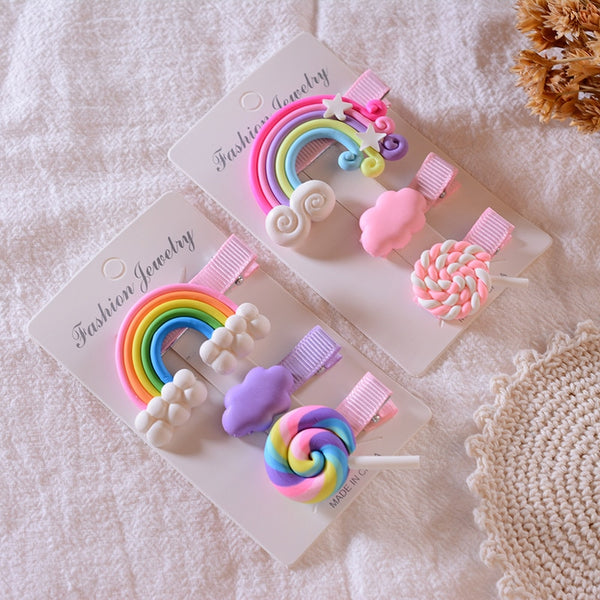 3 Rainbow Lollipop Hair Clips