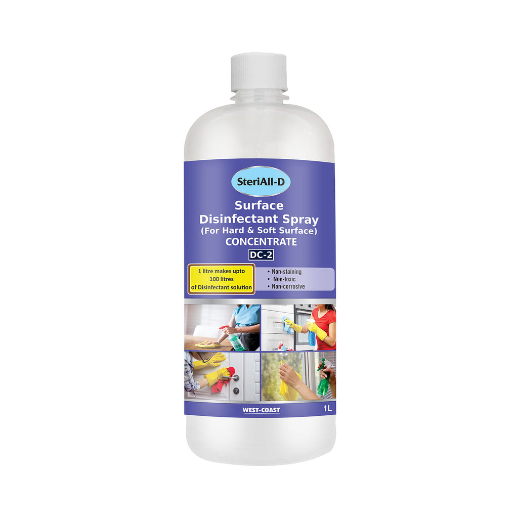 SteriAll-D Surface Disinfectants Spray for Hard & Soft Surface Concentrate (1 Litre Makes Up to 100 Litres of Disinfectant Solution) - 1L