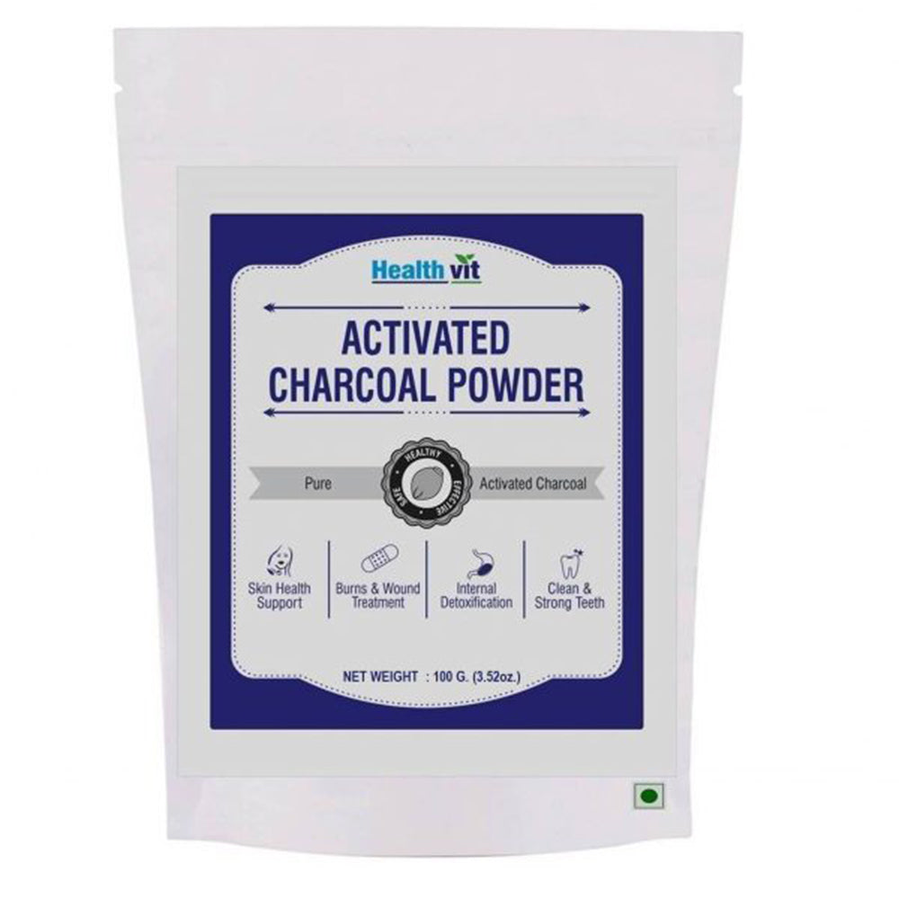 Healthvit Activated Charcoal Powder | 100GM for Face Mask