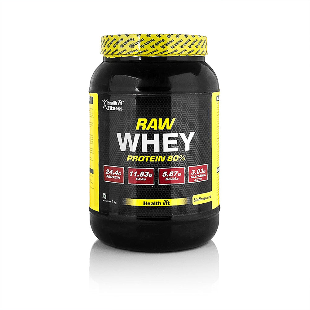 Healthvit Fitness Raw Whey Protein Concentrate 80% 1kg (Raw and Unflavoured / 24.4g Protein Per Serving)