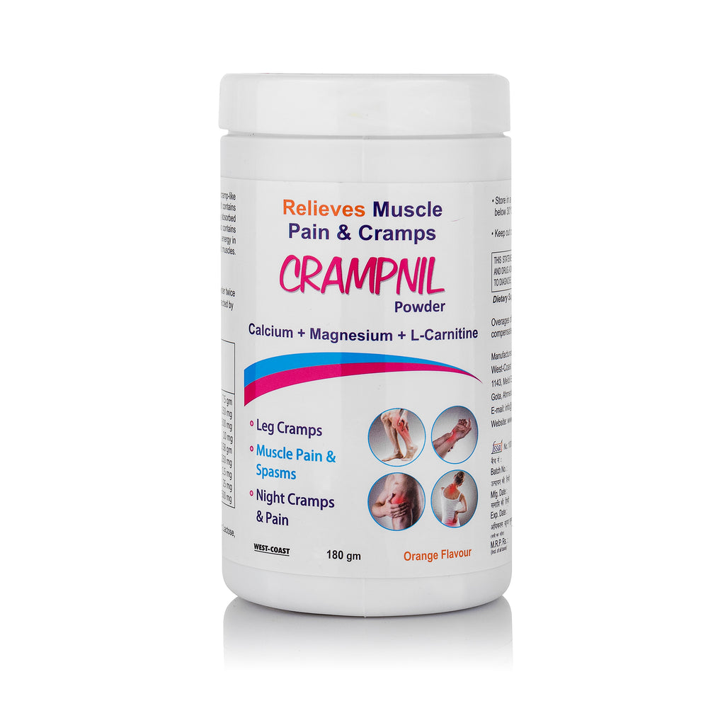 Crampnil High Absorption Magnesium for Leg Cramps and Sore Muscles, Calcium for Born Health, L-Carnitine Powder 180g - Orange Flavor