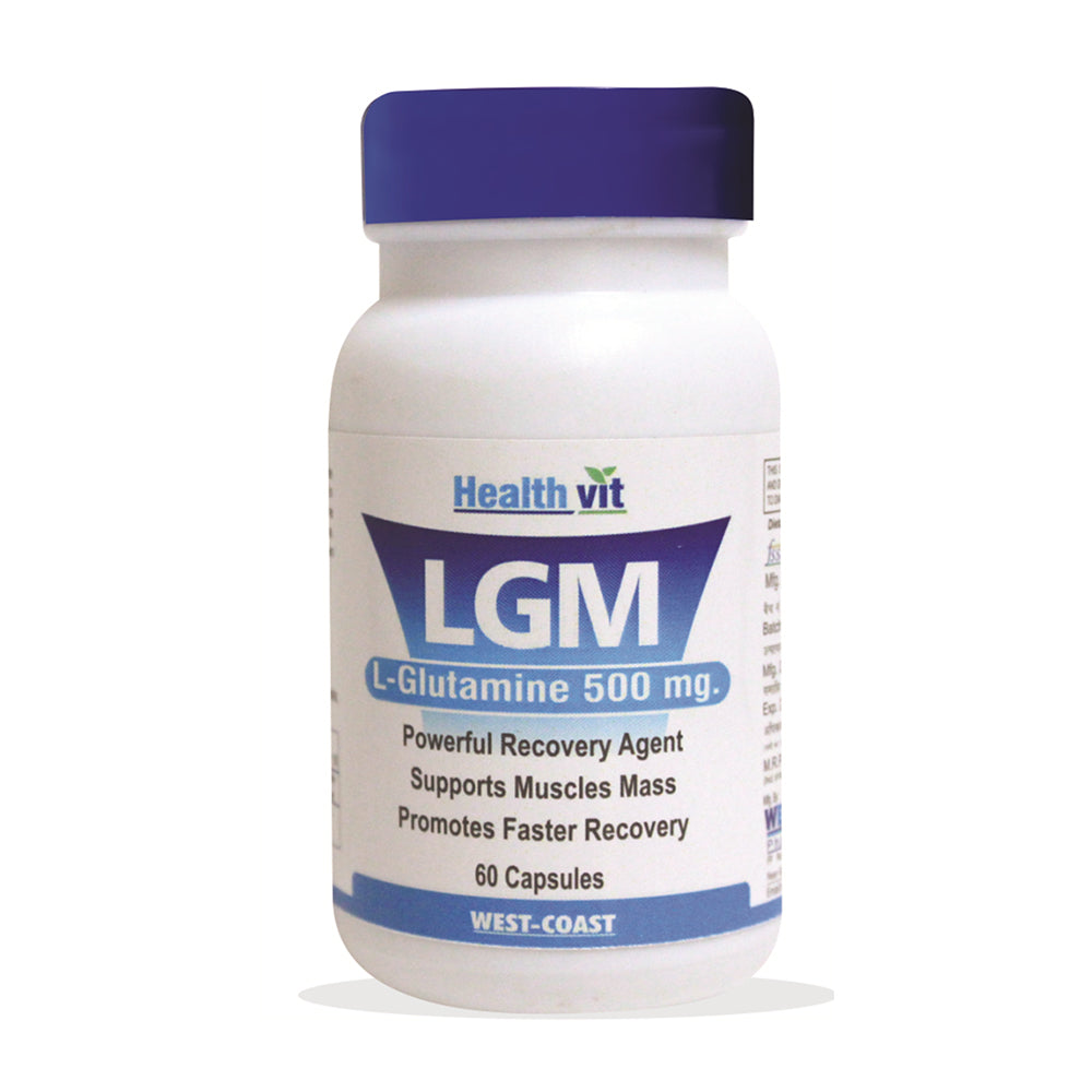 Healthvit LGM L-Glutamine 500MG For Mass Gain and Body Building | 60 Capsules