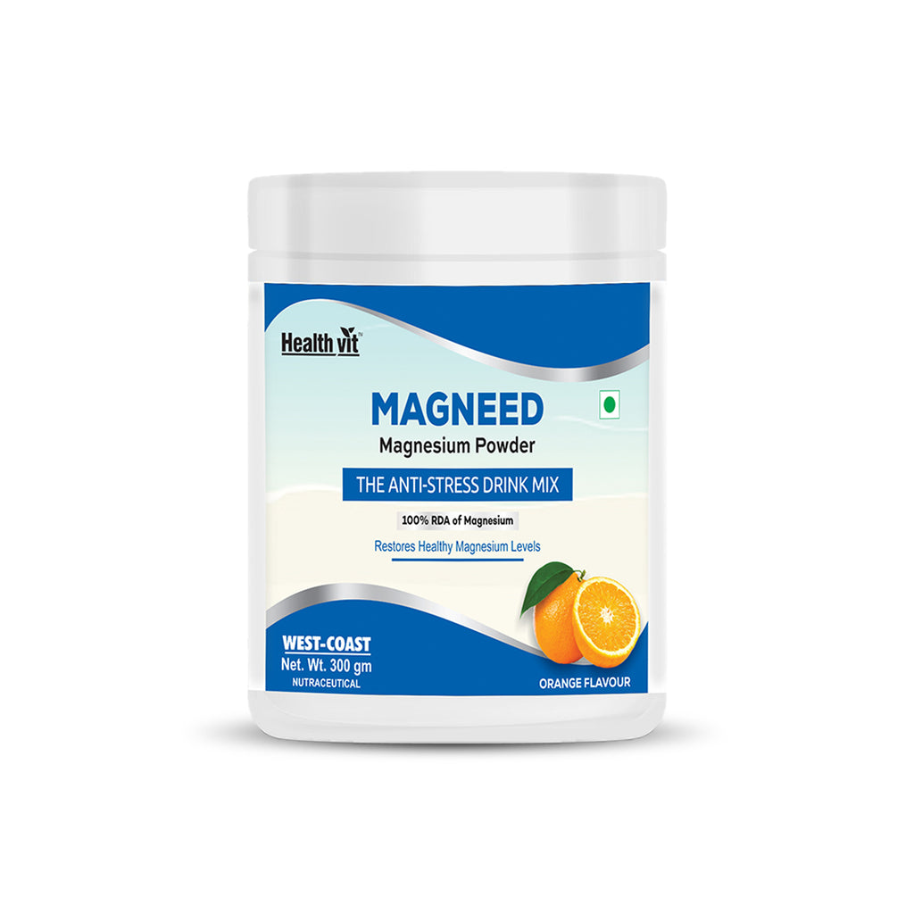 Healthvit Magneed Magnesium Powder the Anti-Stress Drink Mix 100% RDA of Magnesium – 300gm (Orange Flavour)