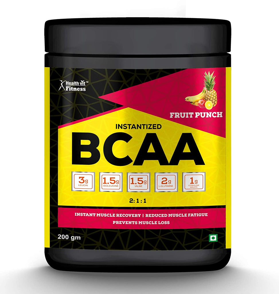 Healthvit Fitness BCAA 6000mg 2:1:1 with L-Glutamine and L-Citrulline Malate, 200g Fruit Punch Flavour
