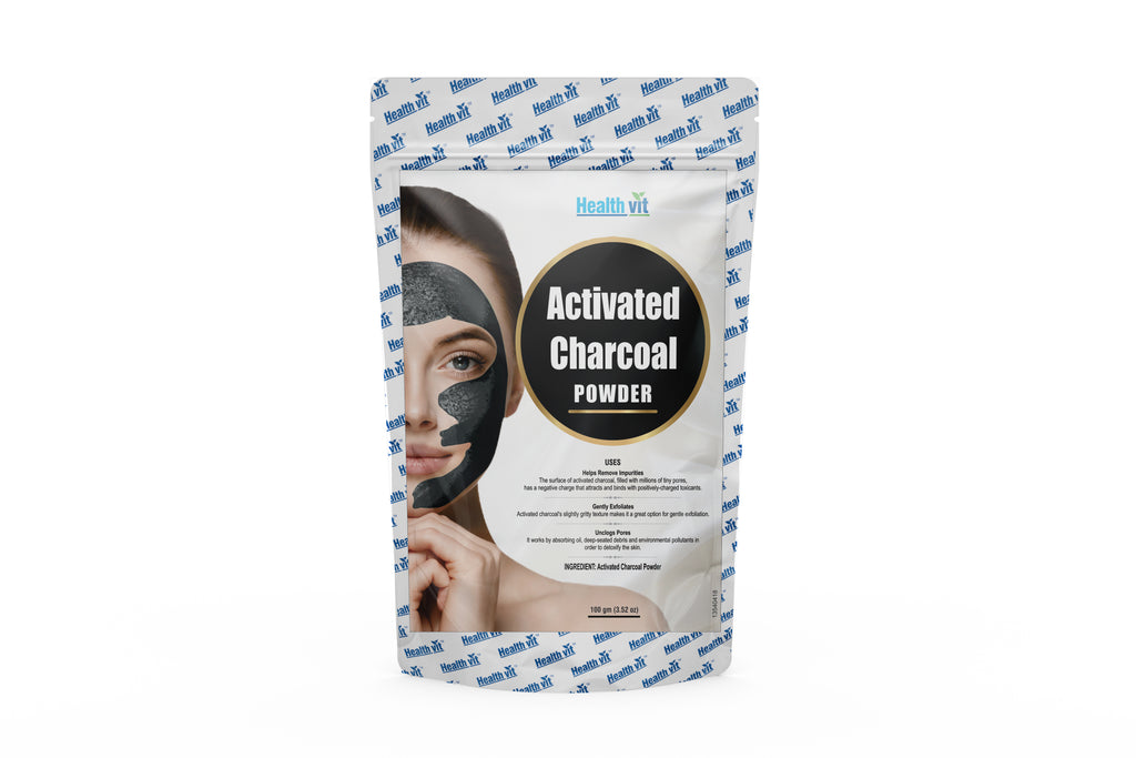 Healthvit Activated Charcoal Powder  100g(3.52 oz) | Face Mask | Black Head Removal Mask | Skin Treatment | Skin Care