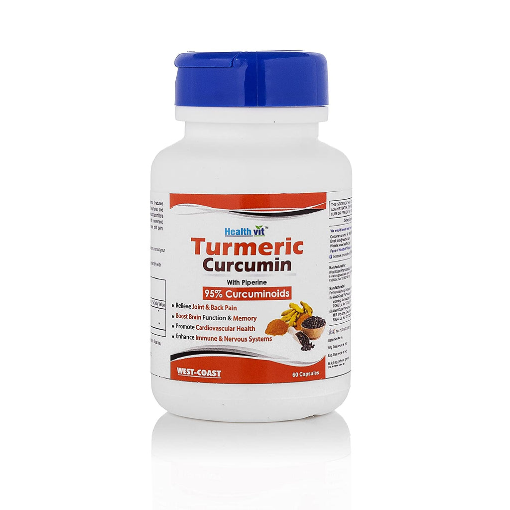 Healthvit Turmeric Curcumin Extract With Piperine Extract 60 Capsules (95% Curcuminoids) For Immune & Nervous System