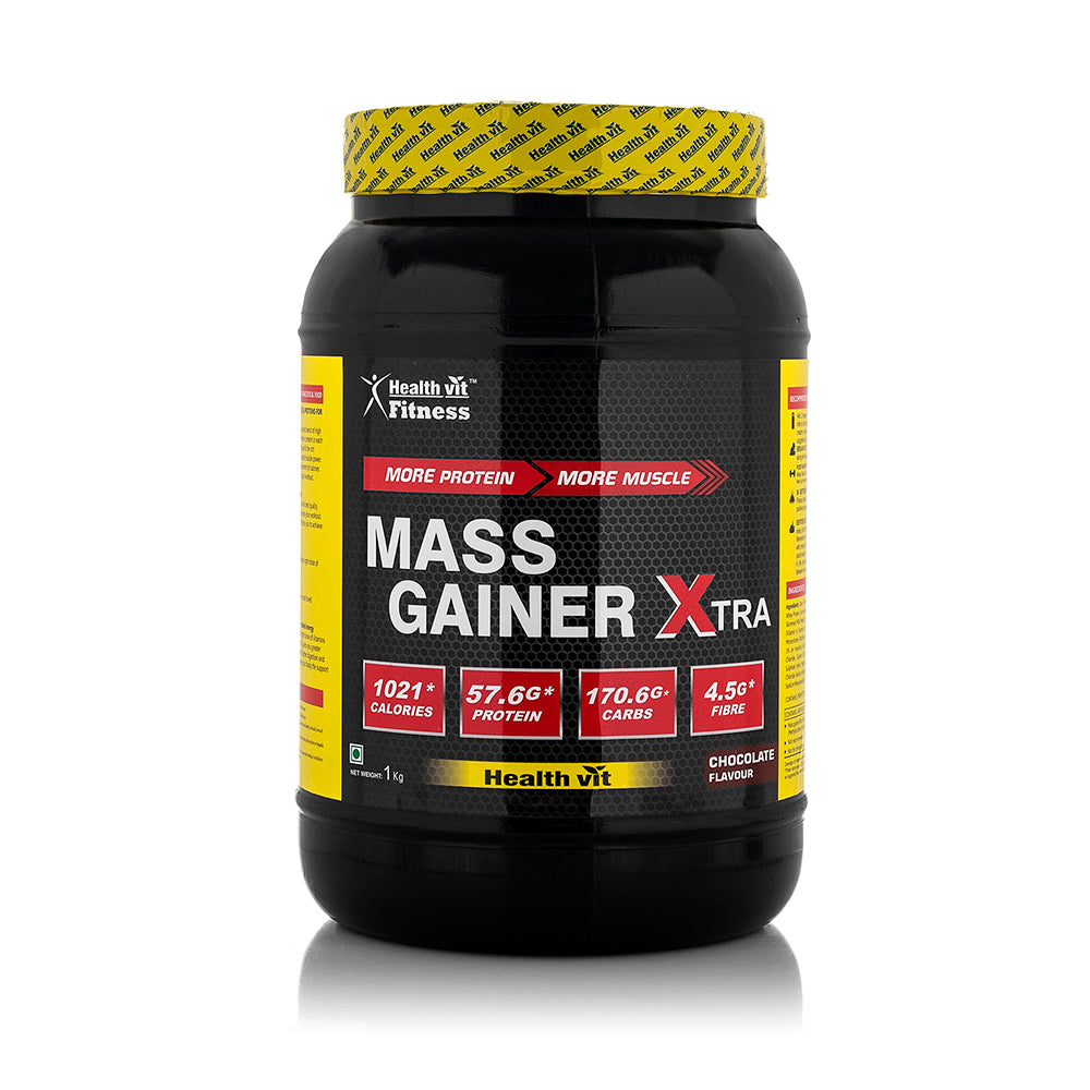 Healthvit Fitness Mass Gainer Xtra with Vitamins and Minerals Chocolate Flavour 1kg / 2.2 lbs