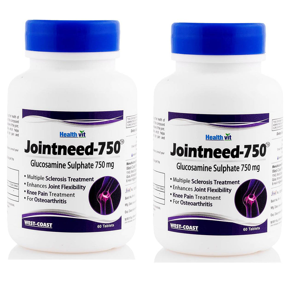 Healthvit Jointneed-750 Glucosamine Sulphate 750 mg 60 Tablets (Pack of 2)
