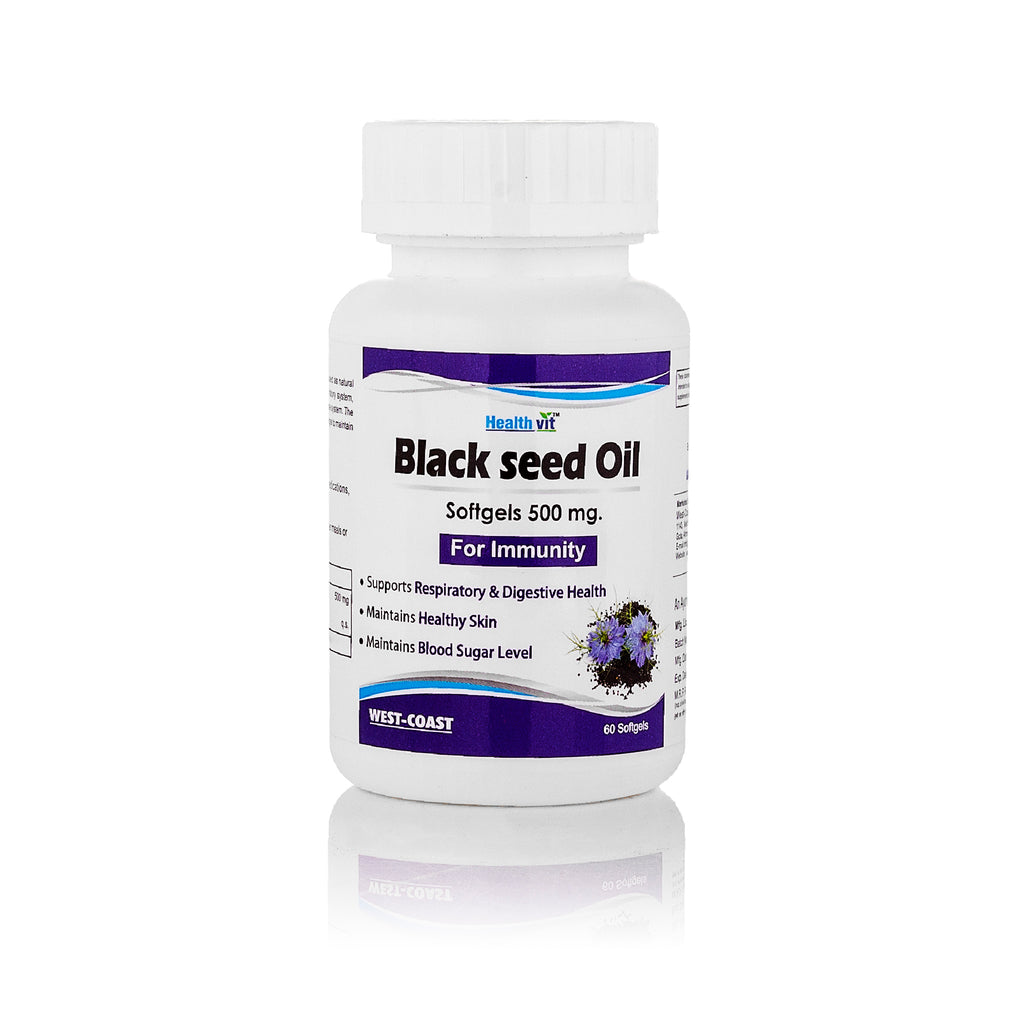Healthvit Black Seed Oil, Extra Virgin Cold Pressed,500 mg 60 Softgels For Immunity
