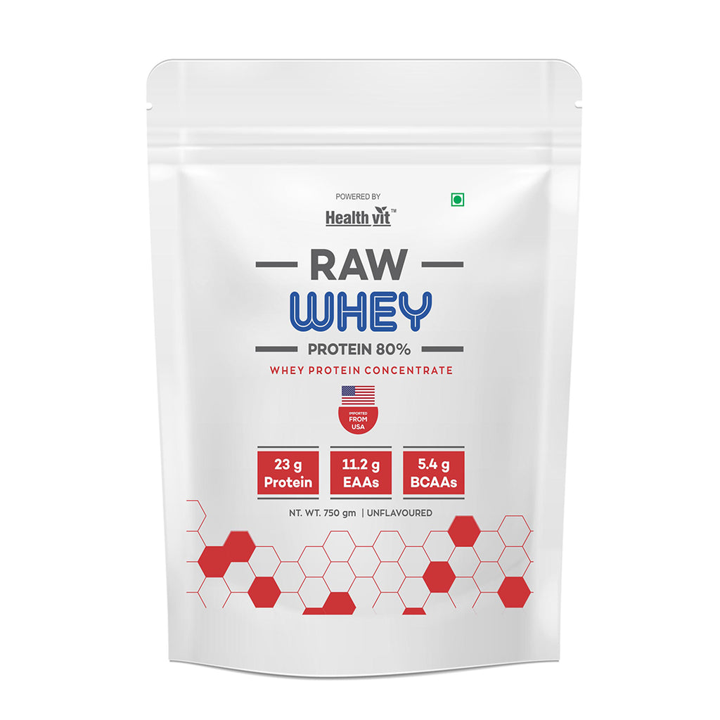 Pure Series Raw Whey Protein Concentrate 80% 750gm (25 Scoop) Powder - Imported From USA