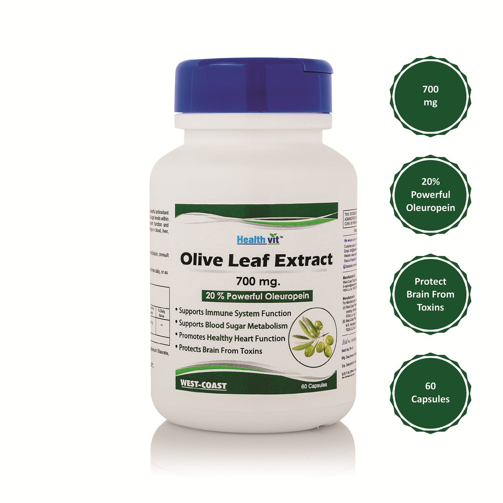 Healthvit Olive Leaf Extract (20% Powerful Oleuropein) 700 mg - 60 Capsules| Immune Support, Cardiovascular Health, Antioxidant Supplement