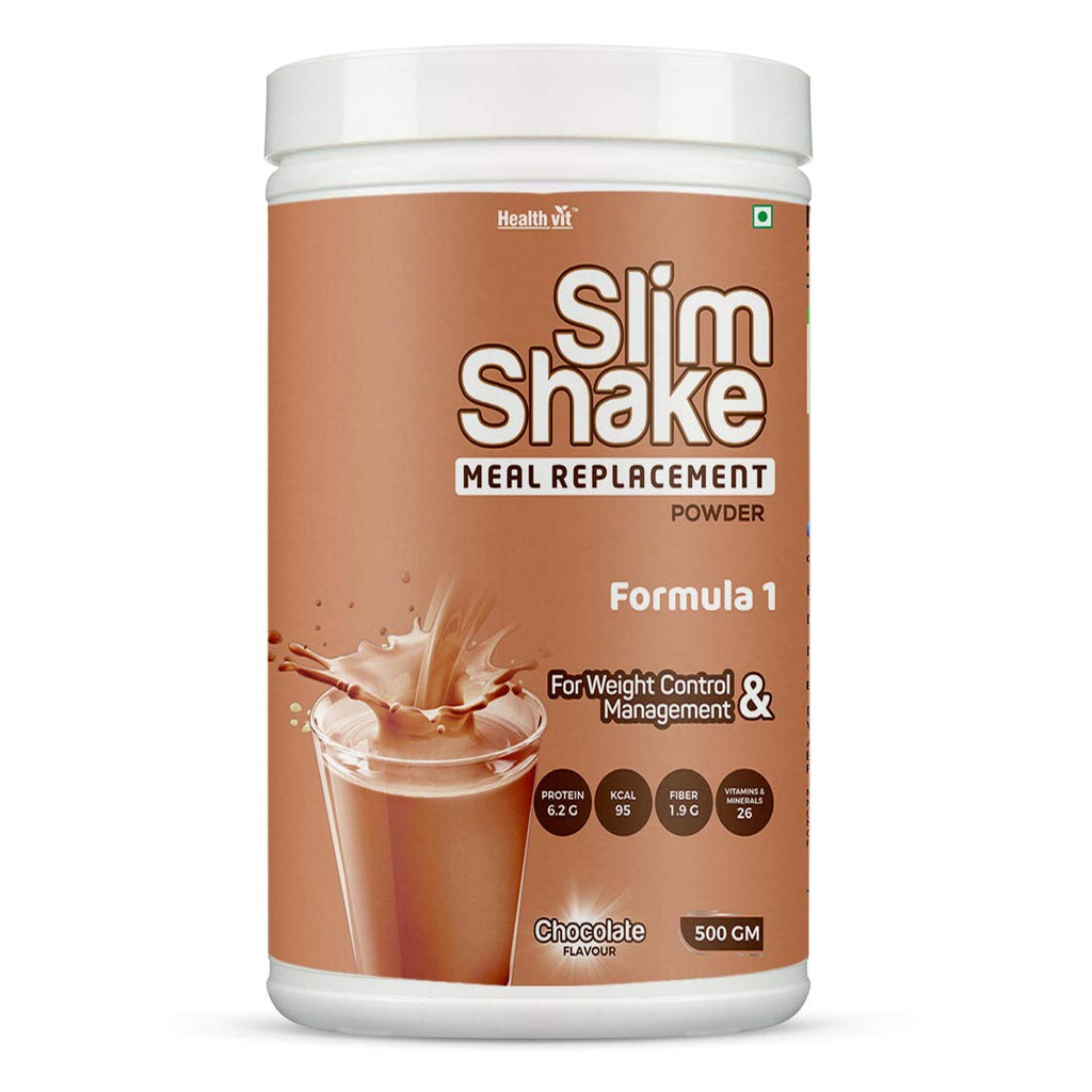 Healthvit Slim Shake Meal Replacement Powder For Weight Control & Management ? 500gm (Chocolate Flavour)