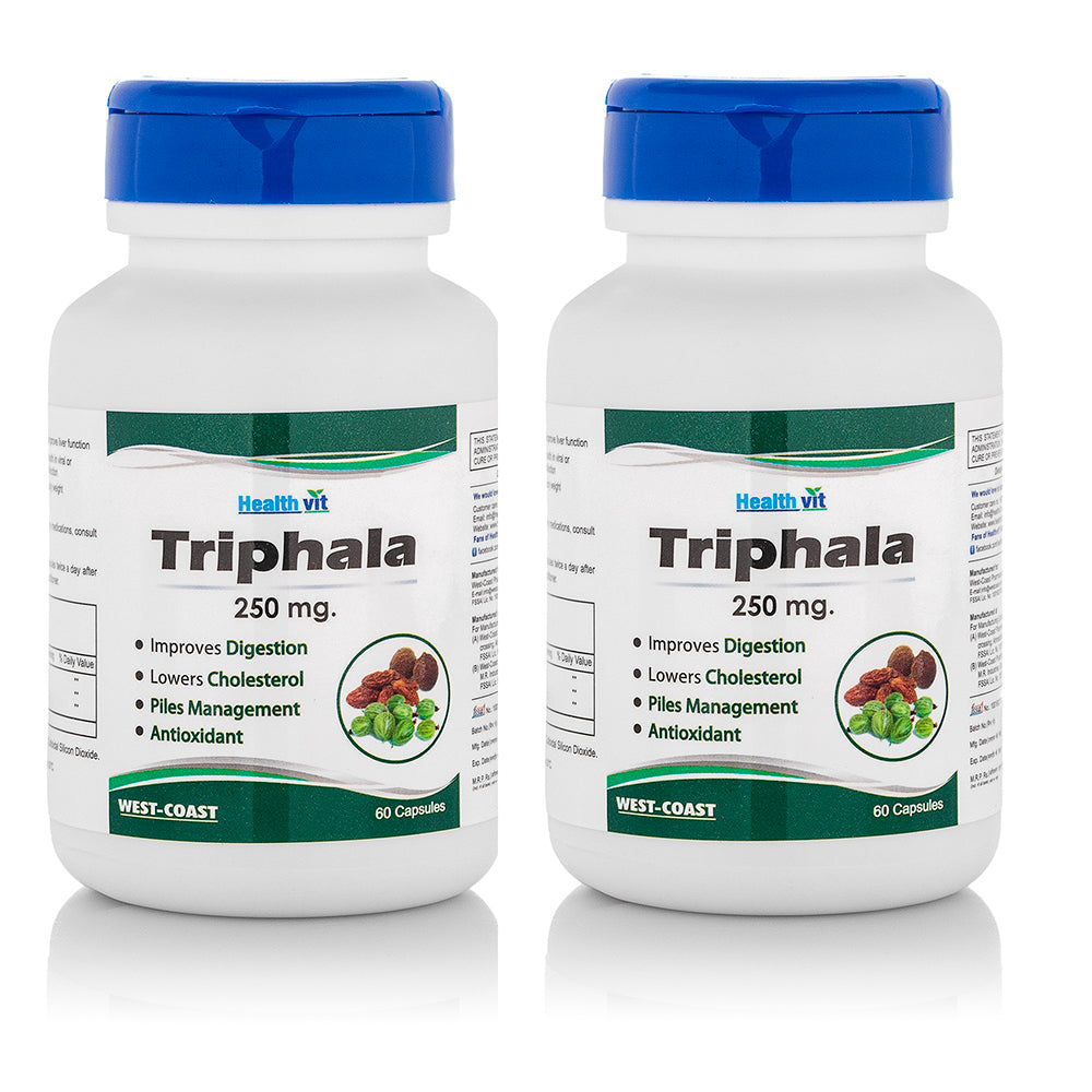 HealthVit Pure Herb Triphala Powder 250 mg, 60 Capsules (Pack Of 2)