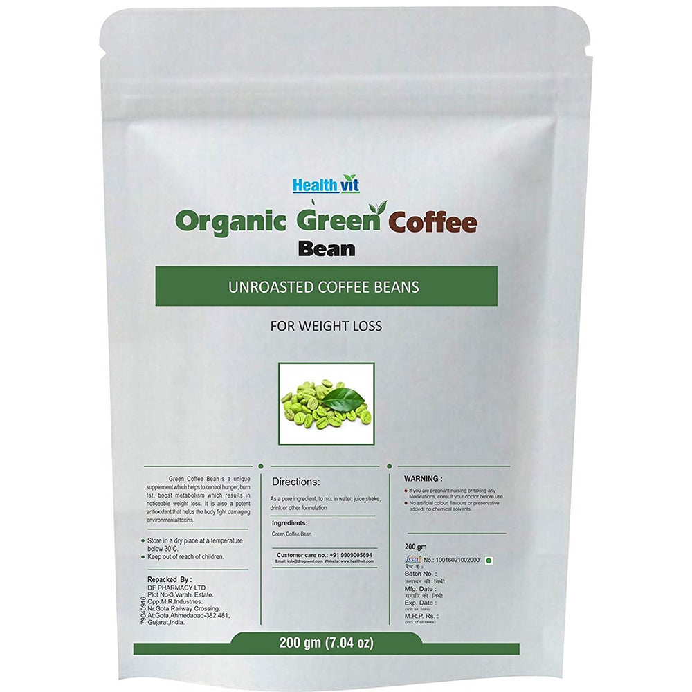 Healthvit Organic Unroasted Green Coffee Beans For Weight Loss | 200 GM