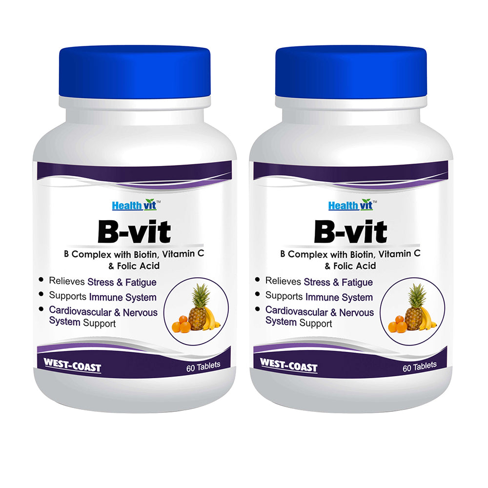 Healthvit Nutrition Natural B-Vit Vitamin B complex with Biotin, Vitamin C and Folic Acid - 60 Tablets (Vitamins B1, B2, B6) - Pack of 2