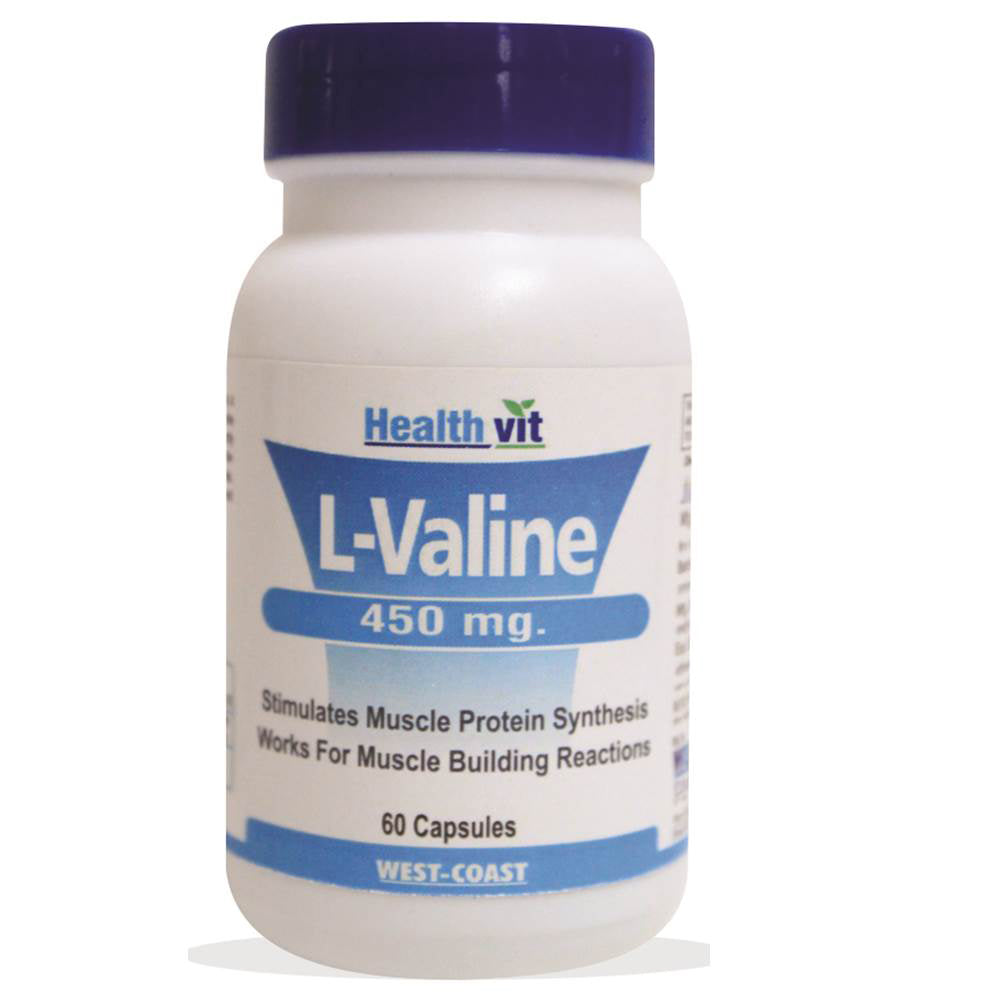 Healthvit L-Valine 450 mg, 60 Capsules For Muscle Building Reaction