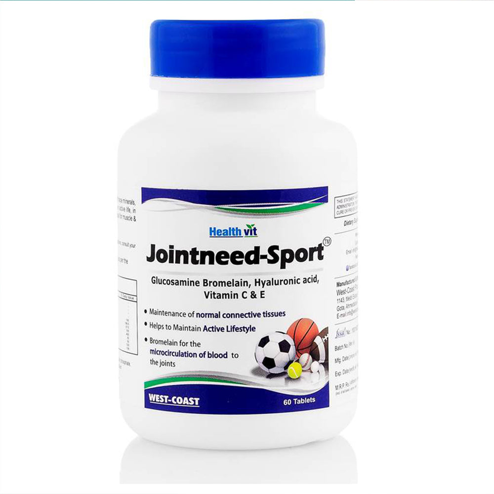 Healthvit Jointneed-Sport Glucosamine 500mg, Bromelain 100mg, Hyaluronic Acid 50mg, Ginger 40mg, Vitamin C and E 50mg, 60 Tablets