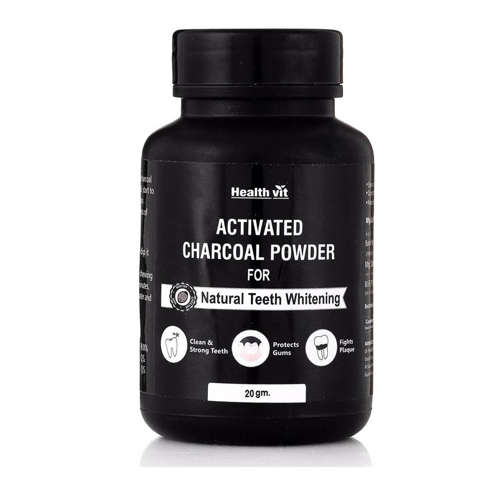 Healthvit Activated Charcoal Instant Teeth Whitening Powder, 20g
