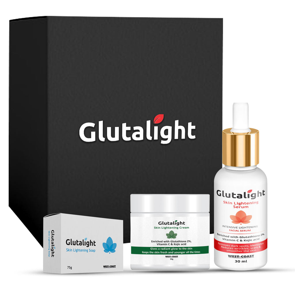 Glutalight Glutathione Skin Lightening/Brightening Combo Pack (Soap + Serum + Cream)