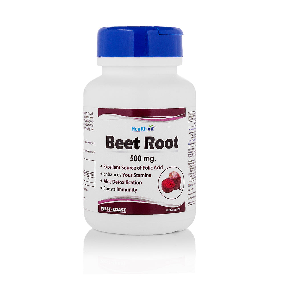 Healthvit Beet Root 500 mg 60 Capsules For Immunity Booster