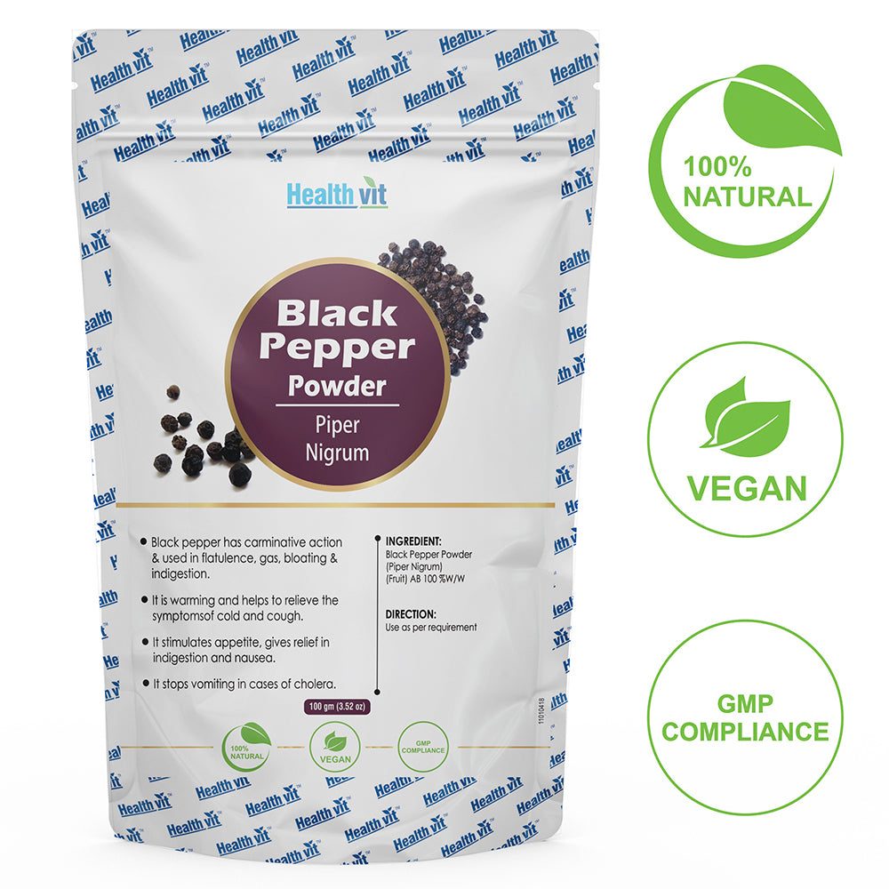 Healthvit Natural Black Pepper (Piper Nigrum) Powder 100g (Pack of 2)