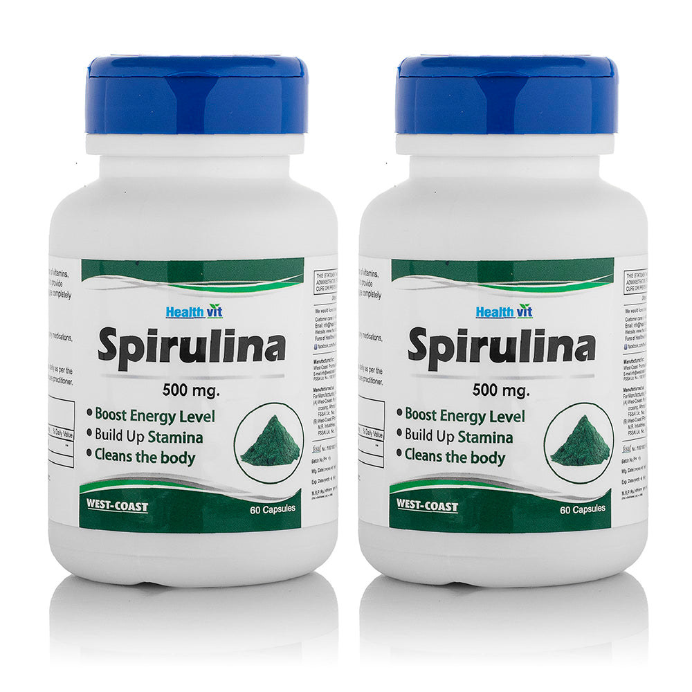 Healthvit Superfood Spirulina 500mg 60 Capsules (Pack Of 2)