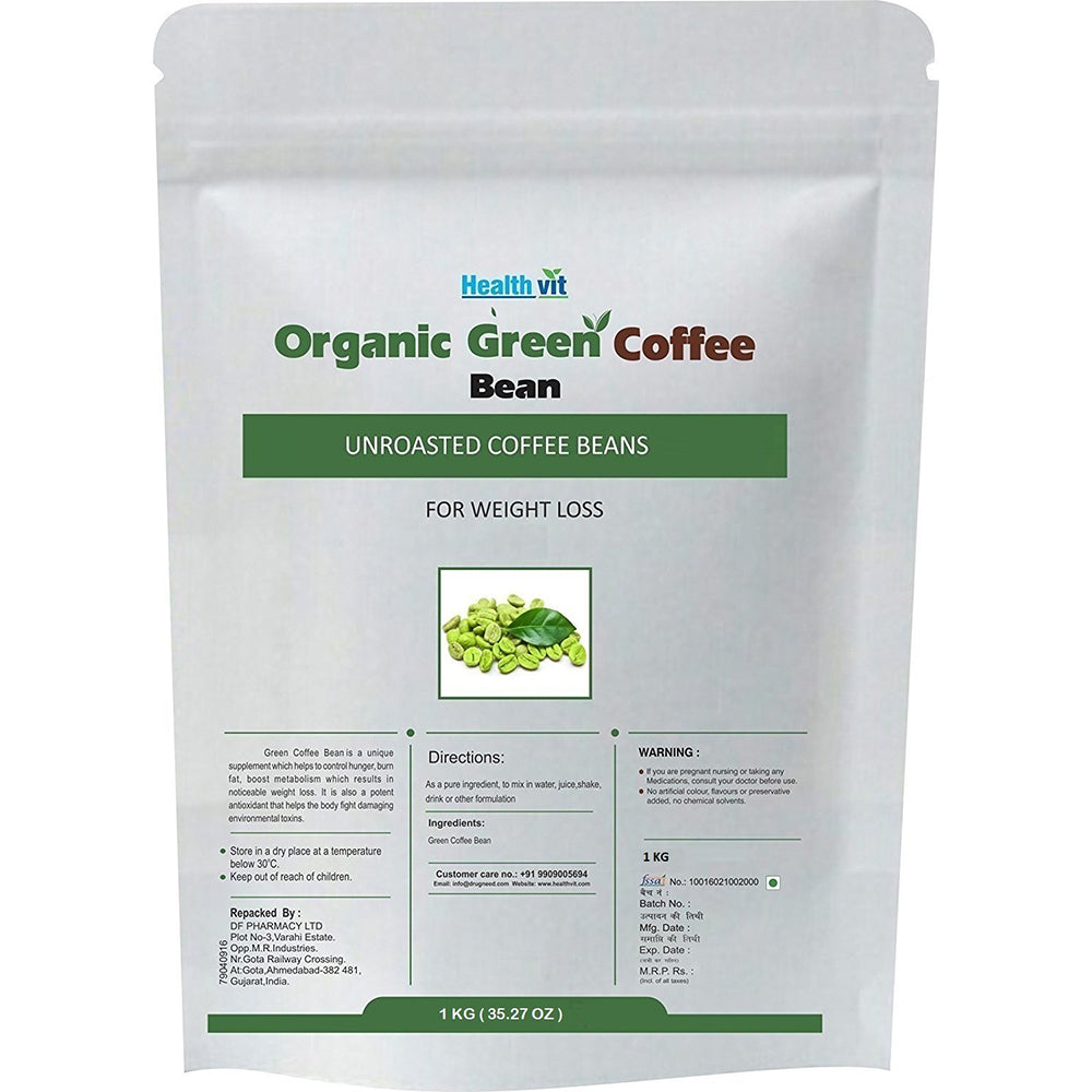 Healthvit Organic Unroasted Green Coffee Beans For Weight Loss | 1KG