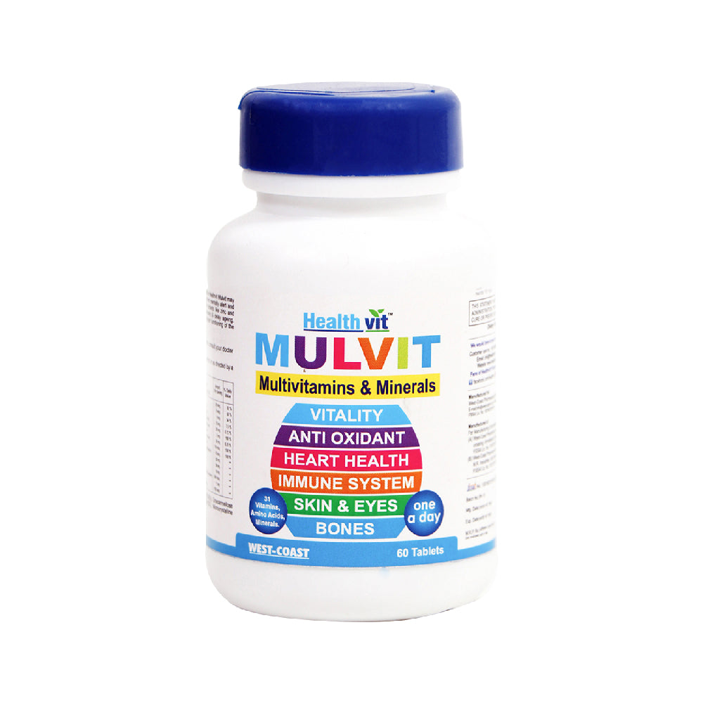 Healthvit Mulvit Multivitamins and Minerals with 31 Nutrients (Vitamins, Minerals and Amino Acids) | Anti-Oxidants, Beauty Blend | Energy, Brain, Bone Health - 60 Tablets