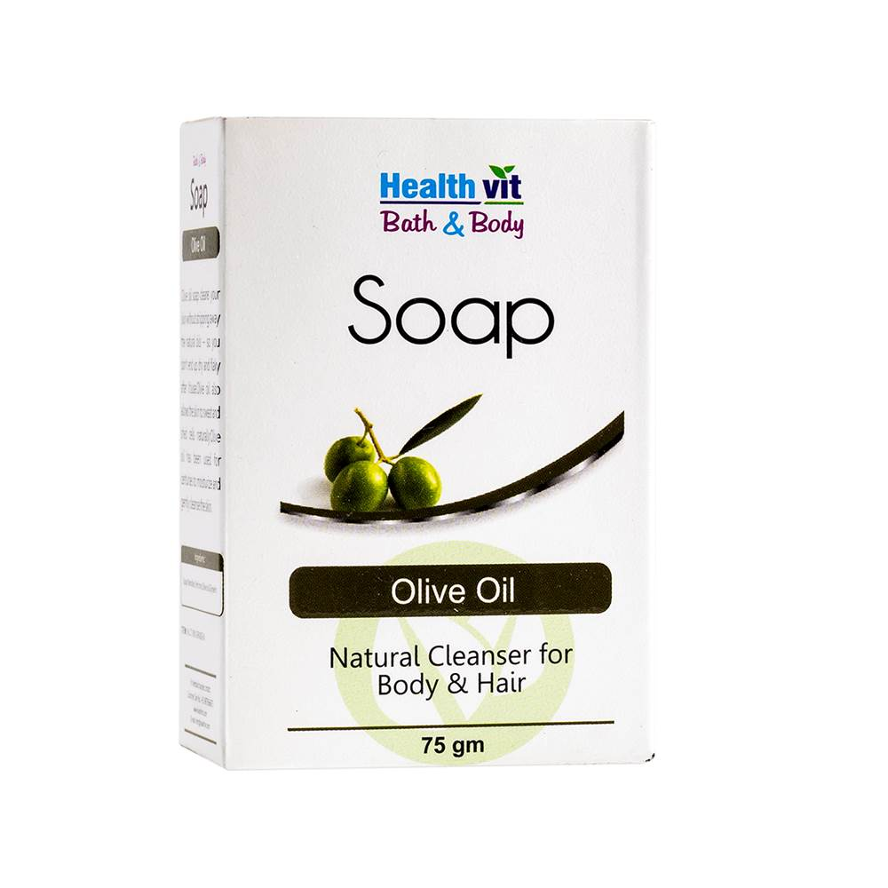 Healthvit Bath & Body Olive Oil Soap ( Natural Cleanser for Body & Hair ) | 75GM