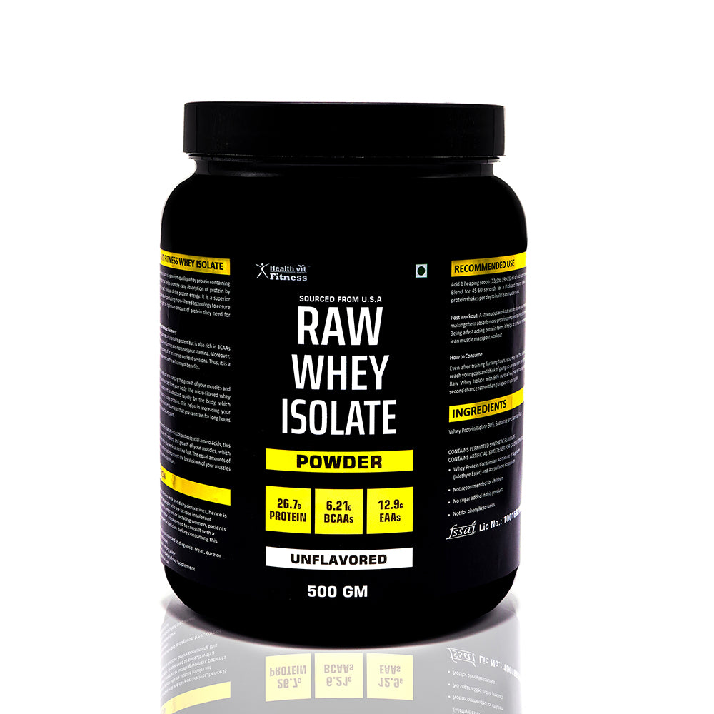 Healthvit Raw Whey Isolate Protein Supplement Powder 500g- Unflavored (33 Serving)