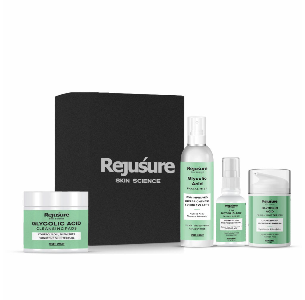 Rejusure Glycolic Acid Combo Reduces Pigmentation, Dark Spots & Acne, Best for oily skin (Face Mist Toner 100ml + Moisturizer 50ml + 5% Face Serum 30ml + Cleansing Pads 50 Pads)
