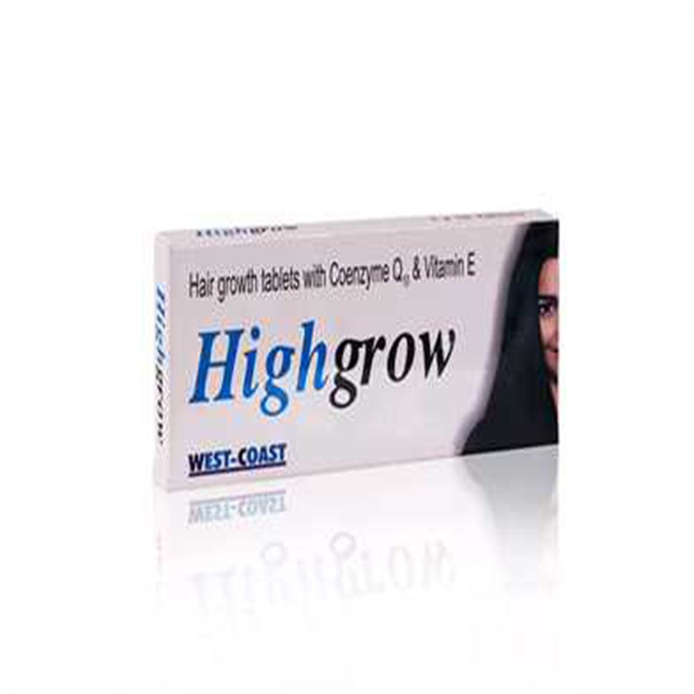 Highgrow  For Hair growth Tablets with Coenzyme Q10 & Vitamin E, 10 Tablets (Pack of 3)