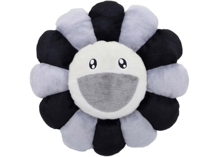 Happy Flower Pillow - Grey/Black