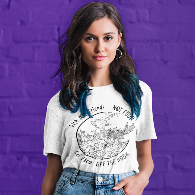 """Fish are Friends, Let them Off the Hook"" Unisex T-Shirt (Light) - The Vegilante"