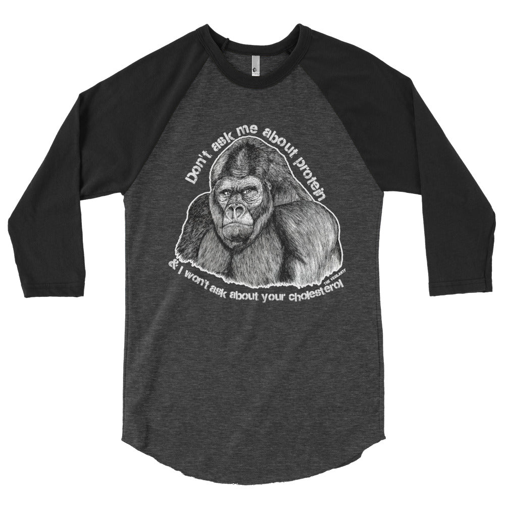 """Gorilla Protein"" 3/4 sleeve raglan shirt - HERBIVORE POWER - The Vegilante"