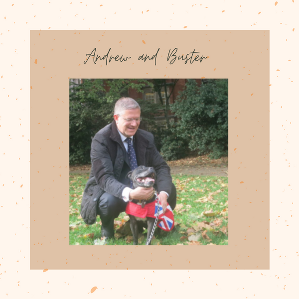 Andrew Rosindell and his Staffordshire Bull Terrier, Buster