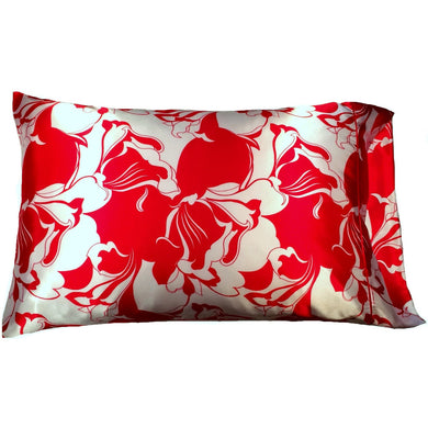 This A Touch of Satin pillowcase is as soft as silk, made from a white and red charmeuse satin print, sewn with French seams and is washable and dryer safe.