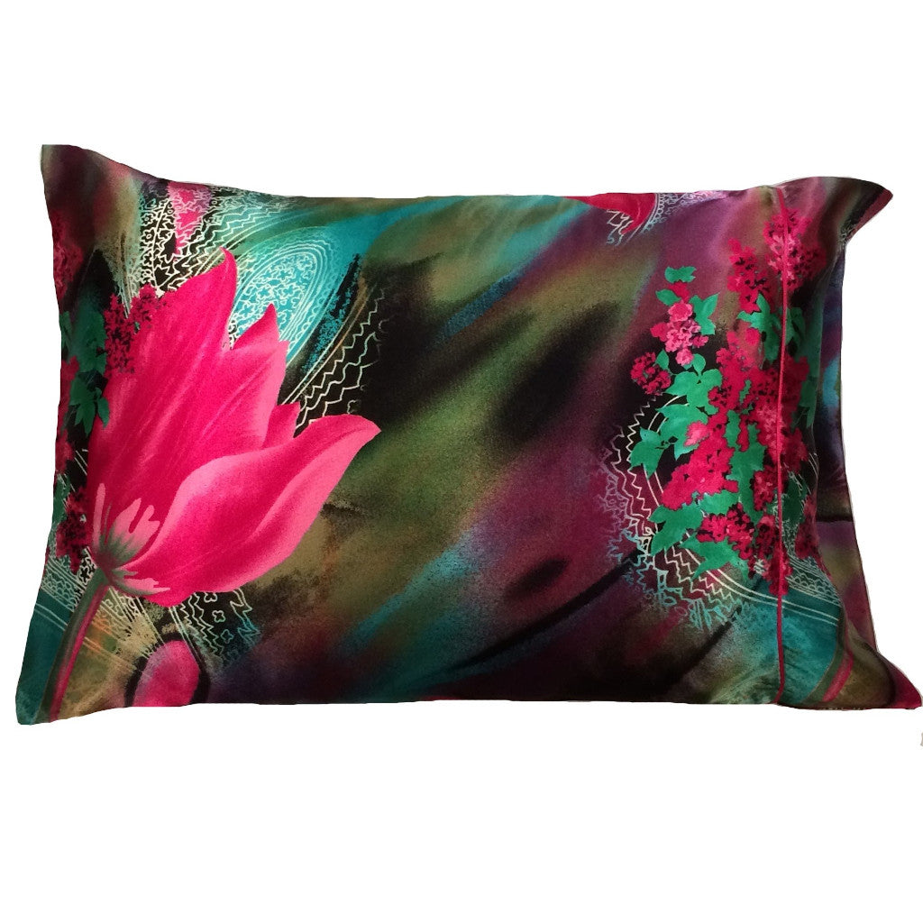 This A Touch of Satin pillowcase is as soft as silk, made from a green, pink and aqua charmeuse satin print, sewn with French seams and is washable and dryer safe.