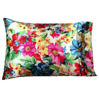 This A Touch of Satin pillowcase is made from a red, yellow, pink and green charmeuse satin floral print, sewn with French seams and is washable and dryer safe.