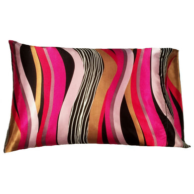 This A Touch of Satin pillowcase is as soft as silk, made from a pink, gold and black charmeuse satin modern geometric print, sewn with French seams and is washable and dryer safe.