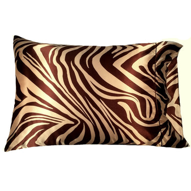 This A Touch of Satin pillowcase is as soft as silk, made from a brown and gold charmeuse satin zebra print, sewn with French seams and is washable and dryer safe.
