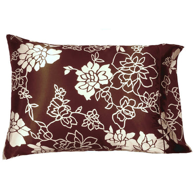 This A Touch of Satin pillowcase is as soft as silk, made from a brown with white flowers charmeuse satin print, sewn with French seams and is washable and dryer safe.