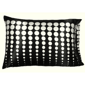 This A Touch of Satin pillowcase is made from a black with white polka dots charmeuse satin print, sewn with French seams and is washable and dryer safe.