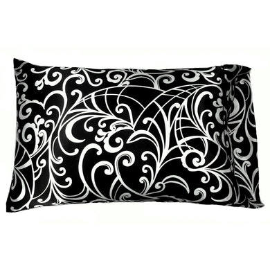 This A Touch of Satin pillowcase is made from a black and white charmeuse satin print, sewn with French seams and is washable and dryer safe.