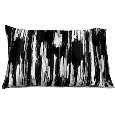 This accent pillow is made from a black and white charmeuse  satin print. The pillow feels